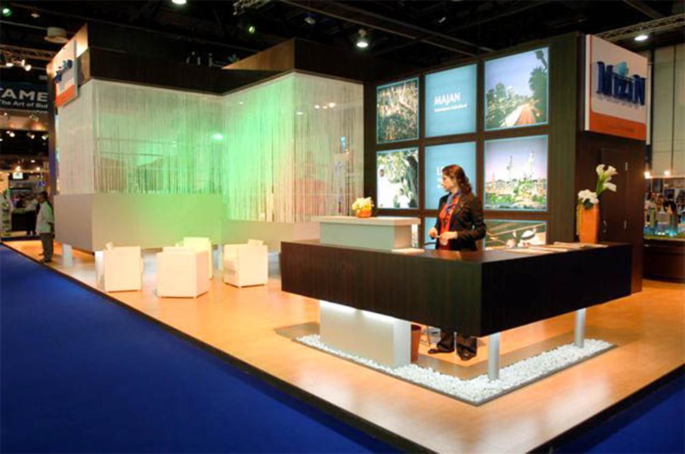 """Reception desk on the exhibition stand for Mizin at Cityscape"""
