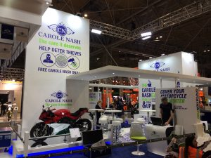 Exhibit booth at the NEC Birmingham UK for Carole Nash, Motorcycle Live 2017