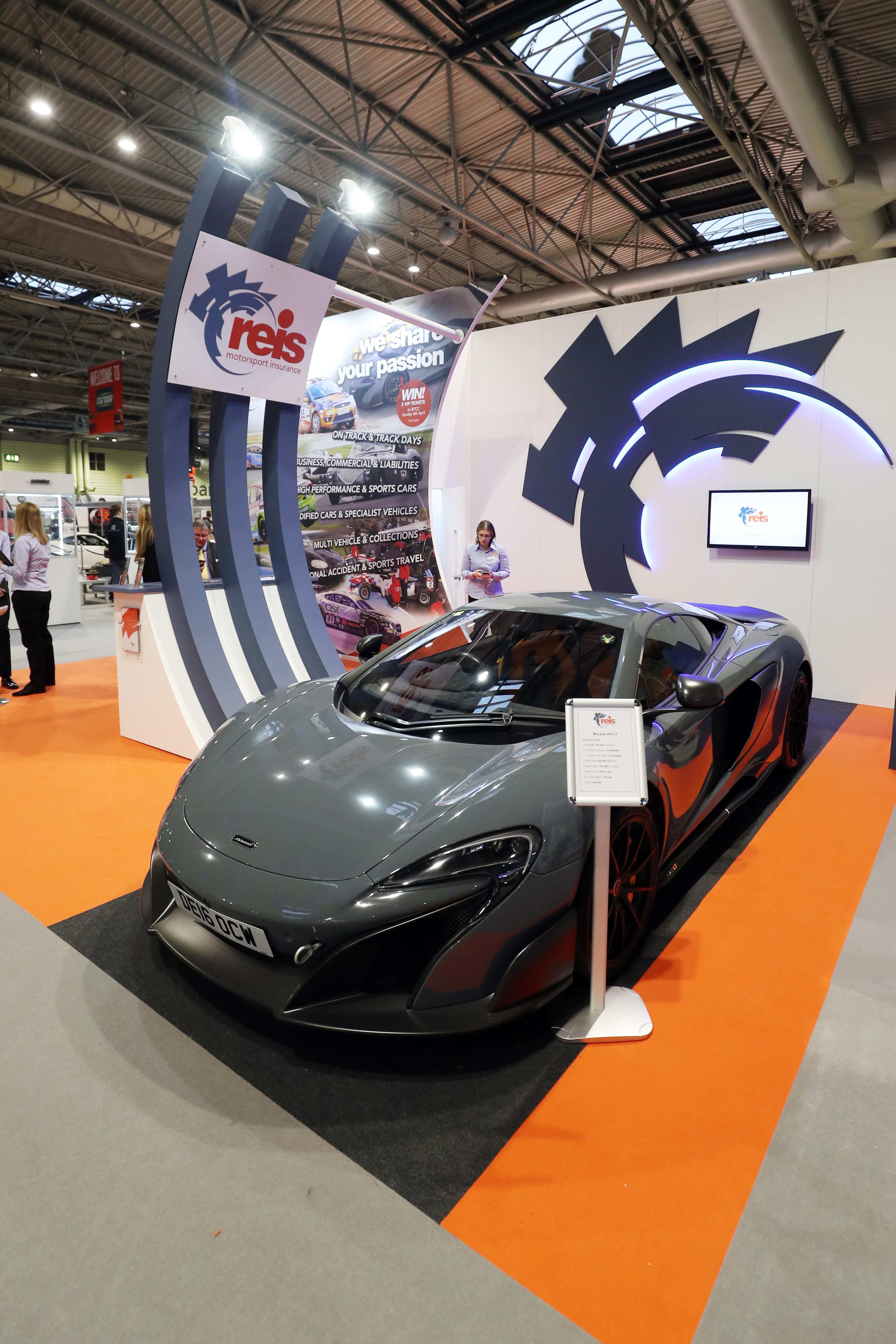 Custom built exhibition stand for Reis Insurance at Autosport 2018 NEC Birmingham, UK