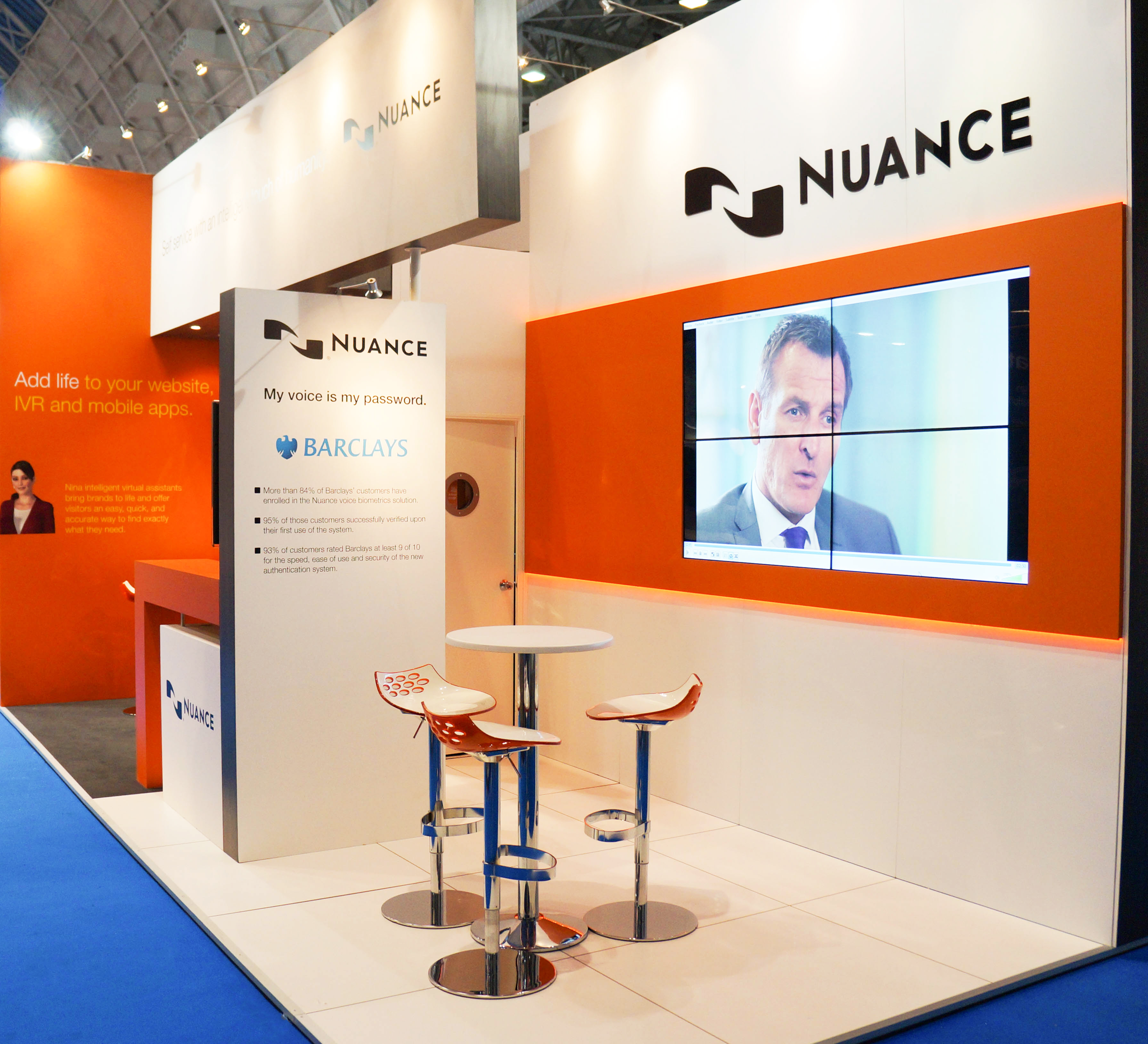 """""""Exhibitions stand for Nuance at CC Expo 2013 with video wall"""""""