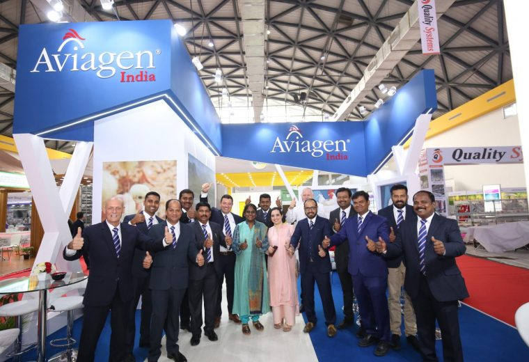 Poultry India Exhibition stand for Aviagen Trade show booth design at HICC in Hyderabad India