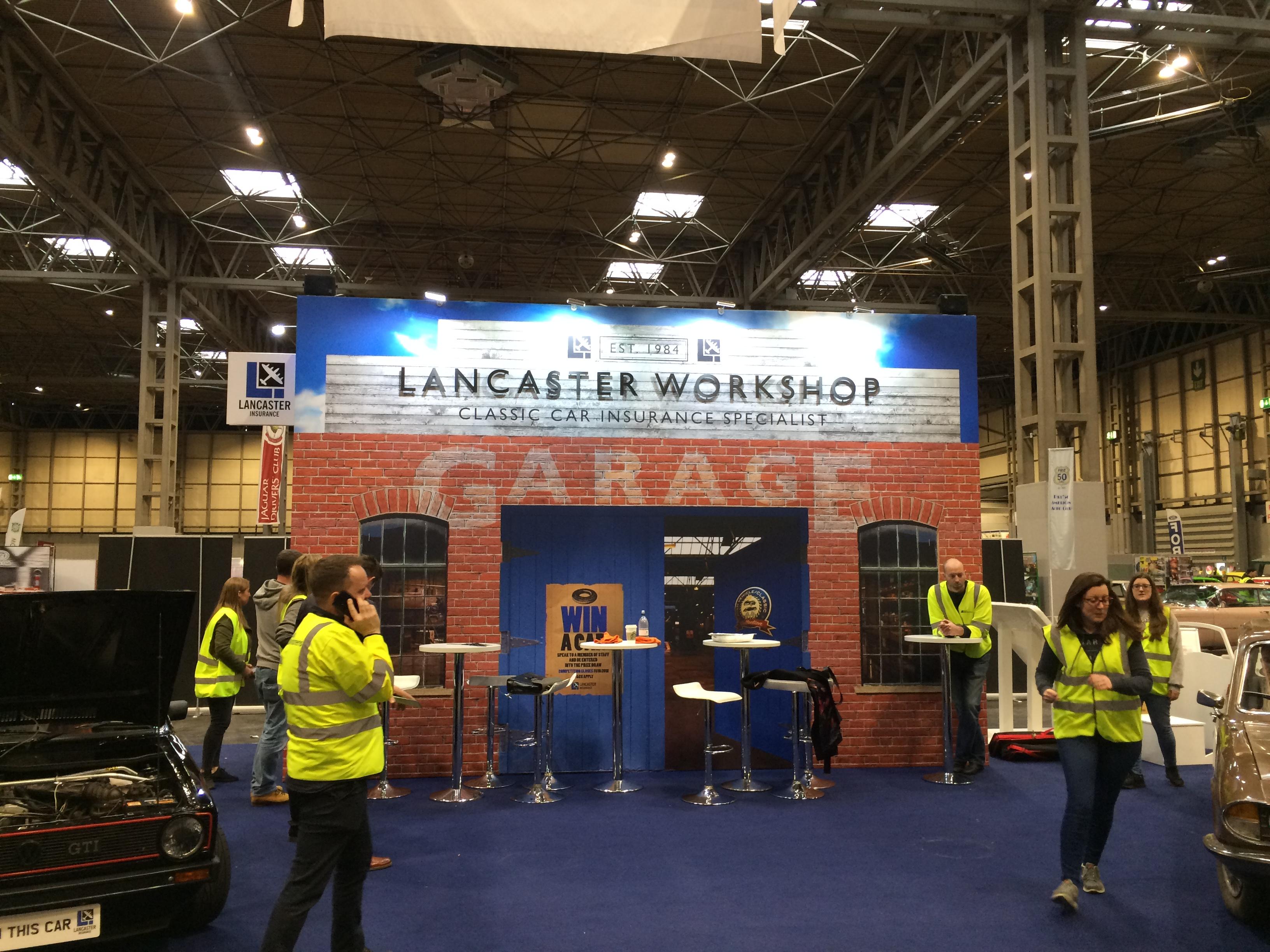 Custom built stand for Lancaster Insurance at the NEC Birmingham, UK