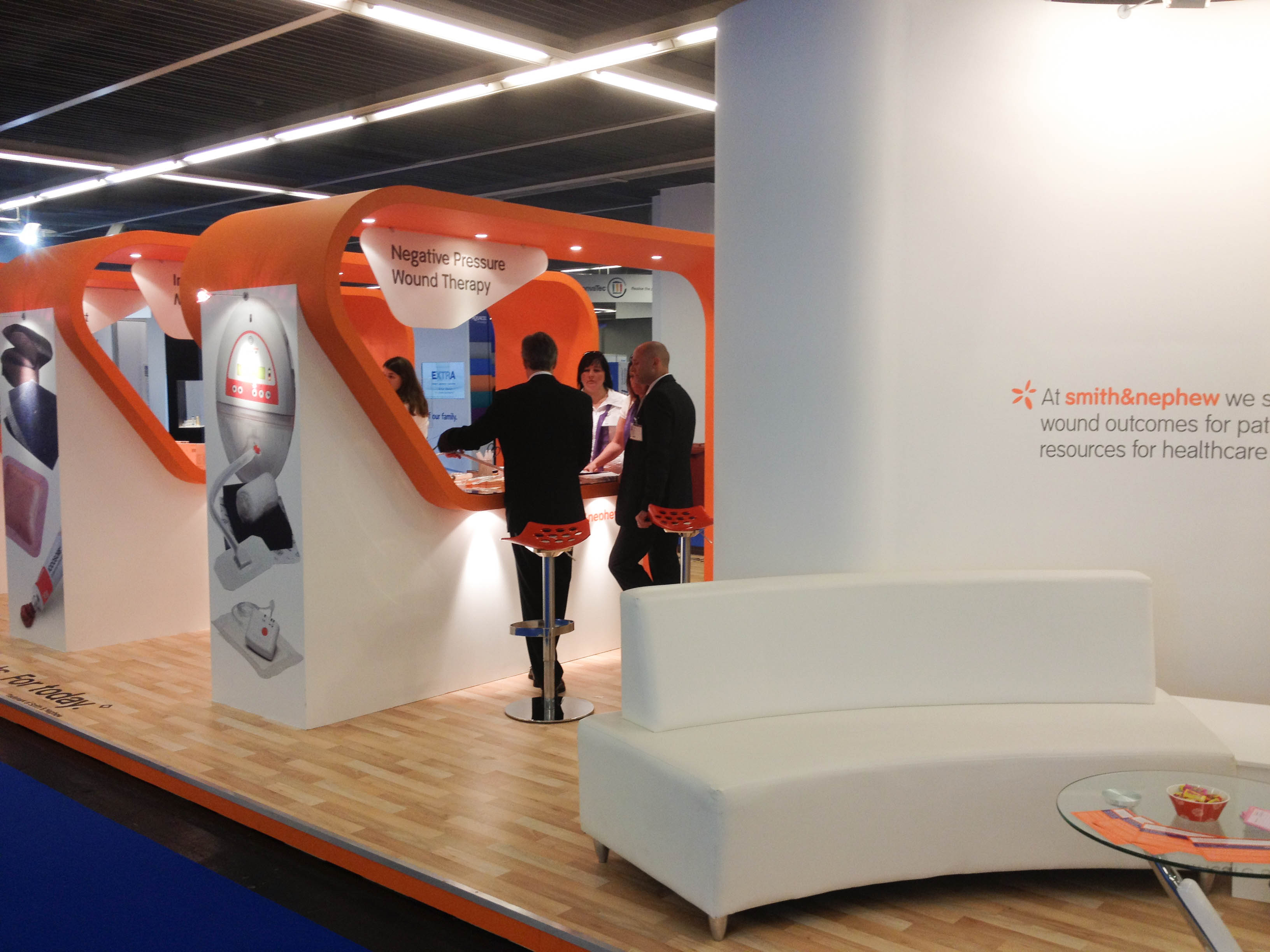 """""""Smith & Nephew exhibition stand seating area at EWMA"""""""