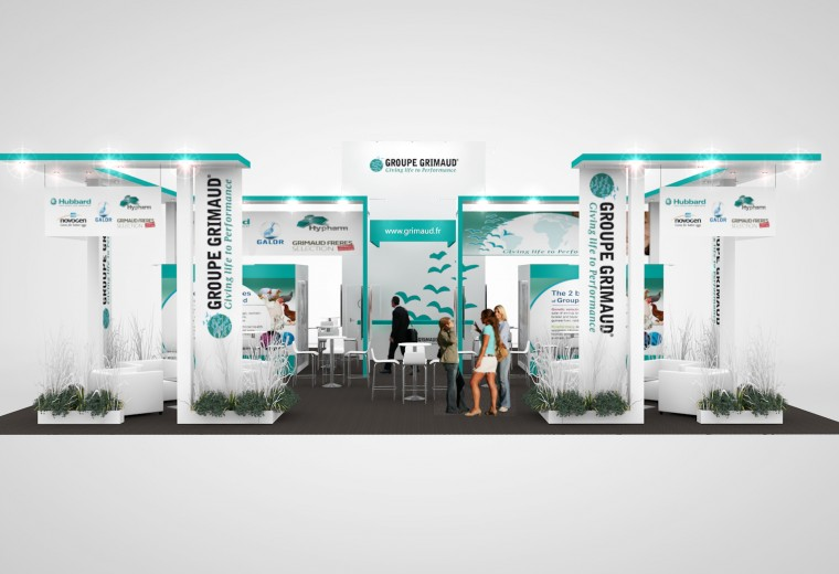 Tradeshow stand designed for Groupe Grimaud's European Exhibition Programme