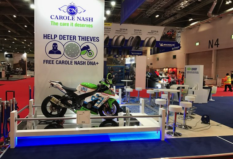 Tradeshow stand custom built for Carole Nash MCN London - ExCel, London UK