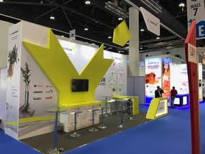 Trade show stand design and build for EW Nutrition at VIV MEA 2018 ADNEC Abu Dhabi UAE