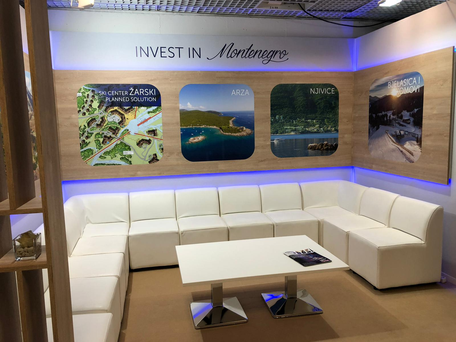Trade show booth design in Cannes at MIPIM France for Invest in Montenegro