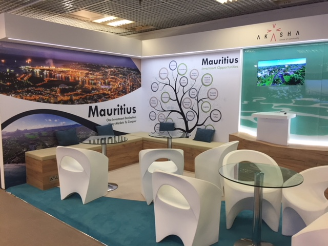 Tradeshow booth design and build for Mauritius at MIPIM 2018 Palais des Fesivals, Cannes France