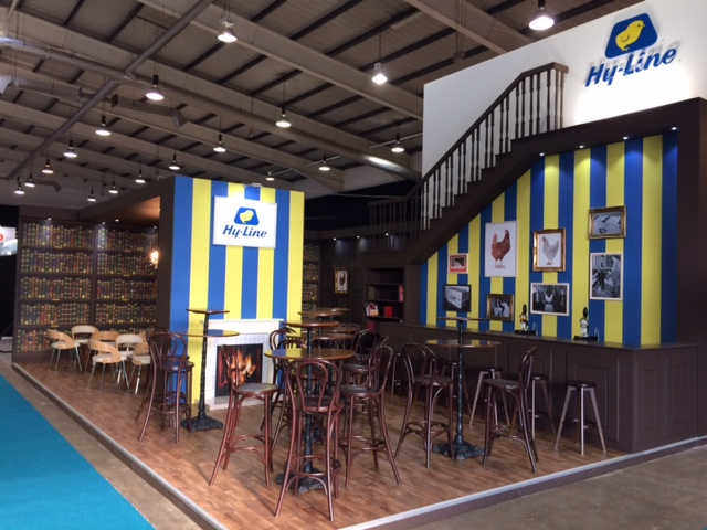 Exhibition stand designed and built for Hy-Line at the Pig and Poultry Fair NAEC