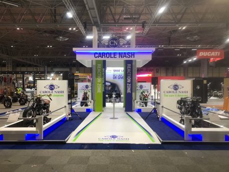 Exhibition stand design and build for Carole Nash at Motorcycle Live NEC Birmingham UK