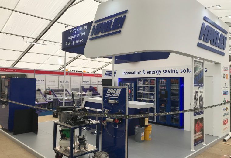 Exhibition stand design and build for Hayley Group at Hillhead Buxton, Derbyshire UK