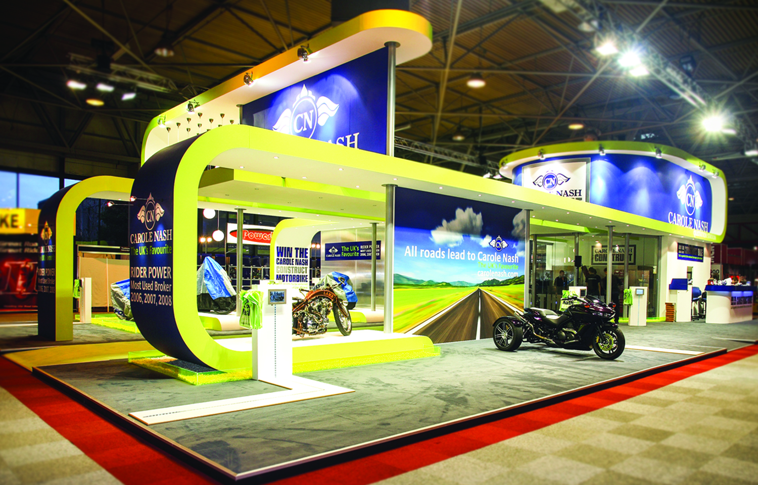 Bespoke tradeshow exhibition stand design and build for Carole Nash Motorcycle Live 2008 Birmingham NEC