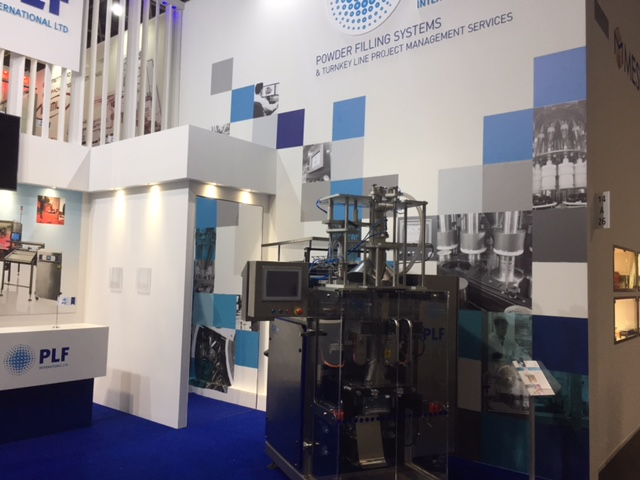 Custom built trade show booth at Interpack exhibition - Dusseldorf Messe, Germany