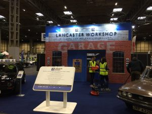 Exhibition stand design and build for Lancaster Insurance at The Restoration Show - NAEC Stoneleigh UK